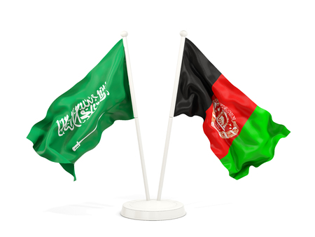 Two waving flags of Saudi Arabia and afghanistan isolated on white. 3D illustration