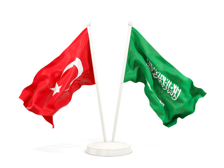 Two waving flags of Turkey and saudi arabia isolated on white. 3D illustration Stock Photo