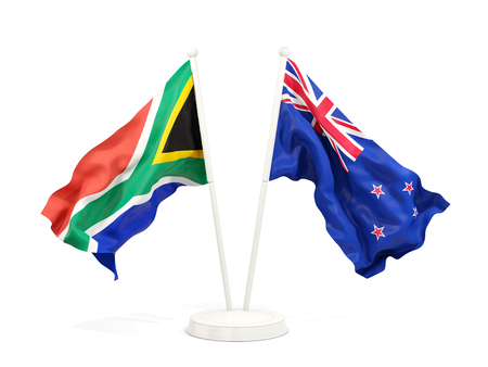 Two waving flags of South Africa and new zealand isolated on white. 3D illustration