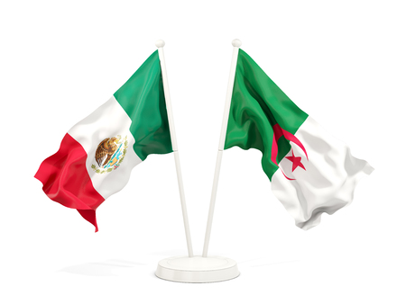 Two waving flags of Mexico and algeria isolated on white. 3D illustration Stock Photo