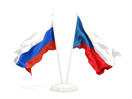 Two waving flags of Russia and czech republic isolated on white. 3D illustration