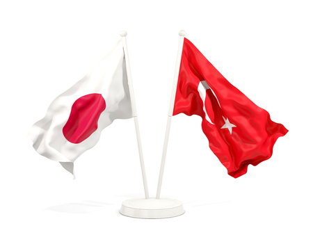 Two waving flags of Japan and turkey isolated on white. 3D illustration Stock Photo