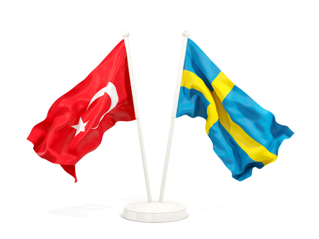 Two waving flags of Turkey and sweden isolated on white. 3D illustration