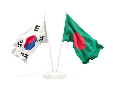 Two waving flags of South Korea and bangladesh isolated on white. 3D illustration Stock Photo