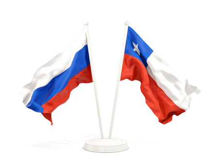 Two waving flags of Russia and chile isolated on white. 3D illustration