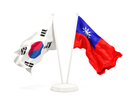 Two waving flags of South Korea and taiwan isolated on white. 3D illustration