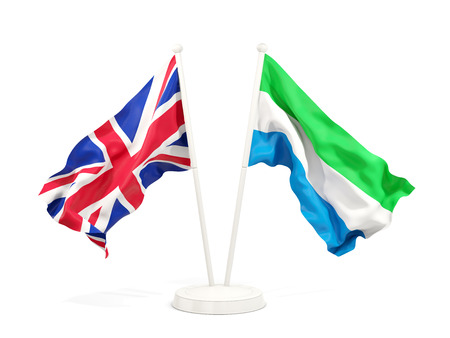 Two waving flags of United Kingdom and sierra leone isolated on white. 3D illustration