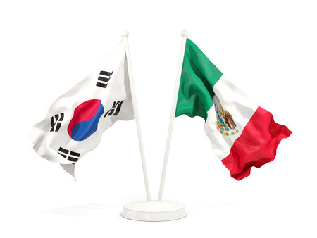 Two waving flags of South Korea and mexico isolated on white. 3D illustration Stock Photo