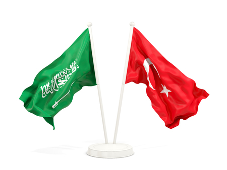 Two waving flags of Saudi Arabia and turkey isolated on white. 3D illustration