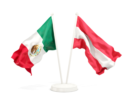 Two waving flags of Mexico and austria isolated on white. 3D illustration Stock Photo