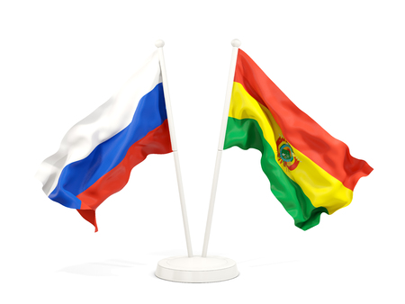 Two waving flags of Russia and bolivia isolated on white. 3D illustration