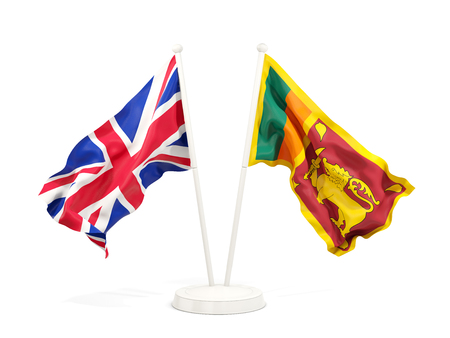 Two waving flags of United Kingdom and sri lanka isolated on white. 3D illustration