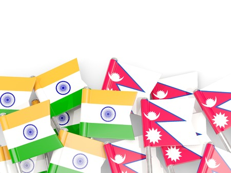Pins with flags of India and nepal isolated on white. Communicationdialog concept. 3D illustration Stock Photo