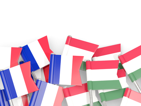 Pins with flags of France and hungary isolated on white. Communication/dialog concept. 3D illustration Foto de archivo