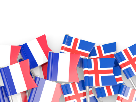 Pins with flags of France and iceland isolated on white. Communication/dialog concept. 3D illustration