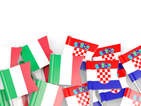 Pins with flags of Italy and croatia isolated on white. Communicationdialog concept. 3D illustration Stock Photo