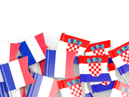 Pins with flags of France and croatia isolated on white. Communicationdialog concept. 3D illustration