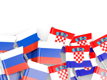 Pins with flags of Russia and croatia isolated on white. Communicationdialog concept. 3D illustration