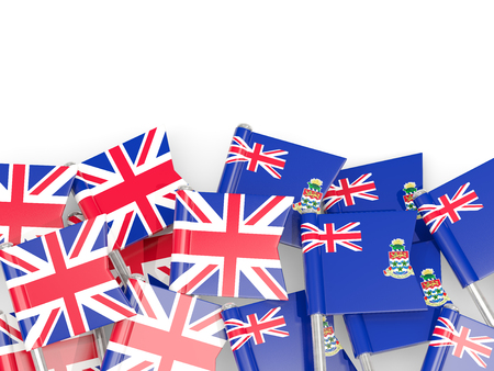 Pins with flags of United Kingdom (UK) and cayman islands isolated on white. Communication/dialog concept. 3D illustration