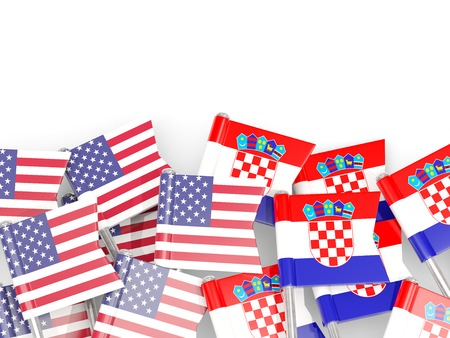 Pins with flags of United States and croatia isolated on white. Communicationdialog concept. 3D illustration Stock Photo