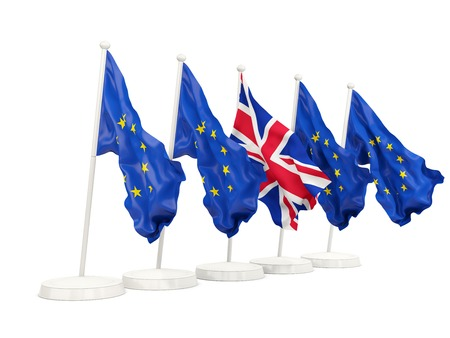 Flags of European Union and United Kingdom. Brexit concept 3D illustration Stock Photo