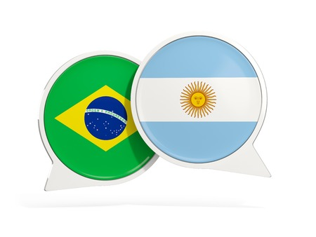 Flags of Brazil and argentina inside chat bubbles isolated on white. 3D illustration
