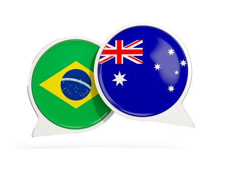 Flags of Brazil and australia inside chat bubbles isolated on white. 3D illustration