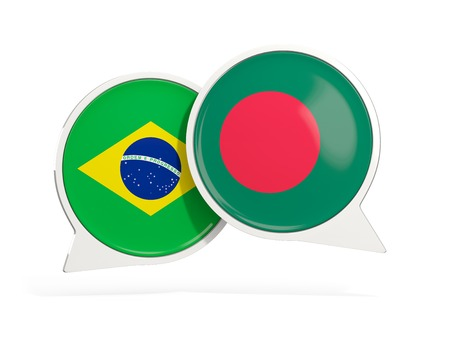 Flags of Brazil and bangladesh inside chat bubbles isolated on white. 3D illustration Imagens
