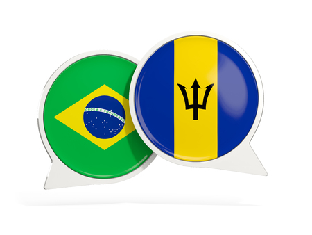Flags of Brazil and barbados inside chat bubbles isolated on white. 3D illustration Imagens