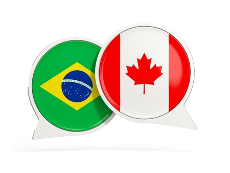 Flags of Brazil and canada inside chat bubbles isolated on white. 3D illustration Imagens