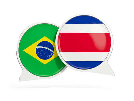 Flags of Brazil and costa rica inside chat bubbles isolated on white. 3D illustration