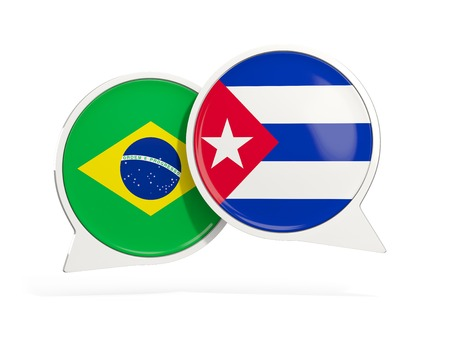 Flags of Brazil and cuba inside chat bubbles isolated on white. 3D illustration