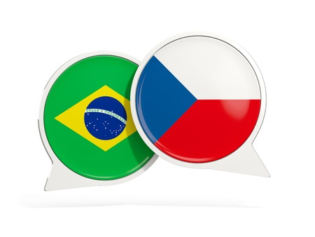 Flags of Brazil and czech republic inside chat bubbles isolated on white. 3D illustration