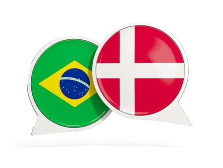 Flags of Brazil and denmark inside chat bubbles isolated on white. 3D illustration
