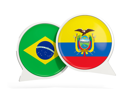 Flags of Brazil and ecuador inside chat bubbles isolated on white. 3D illustration