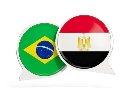 Flags of Brazil and egypt inside chat bubbles isolated on white. 3D illustration