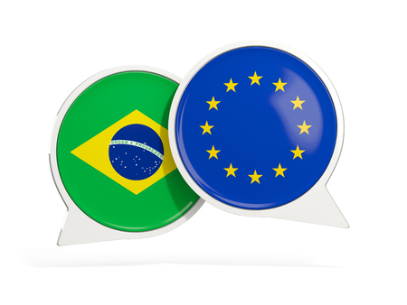 Flags of Brazil and EU inside chat bubbles isolated on white. 3D illustration
