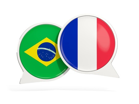 Flags of Brazil and france inside chat bubbles isolated on white. 3D illustration Imagens