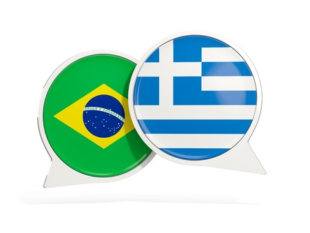 Flags of Brazil and greece inside chat bubbles isolated on white. 3D illustration