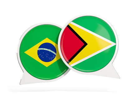 Flags of Brazil and guyana inside chat bubbles isolated on white. 3D illustration