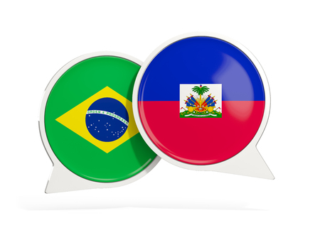 Flags of Brazil and haiti inside chat bubbles isolated on white. 3D illustration