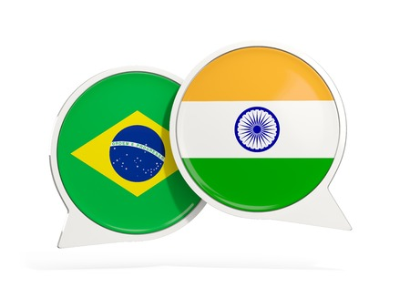 Flags of Brazil and india inside chat bubbles isolated on white. 3D illustration Imagens