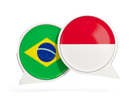 Flags of Brazil and indonesia inside chat bubbles isolated on white. 3D illustration