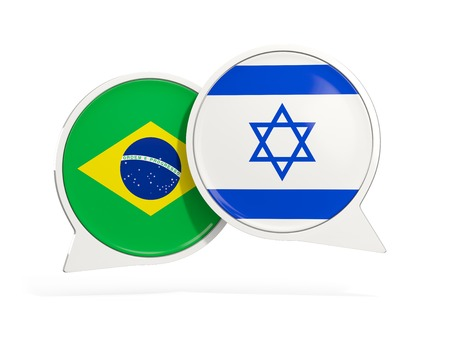 Flags of Brazil and israel inside chat bubbles isolated on white. 3D illustration