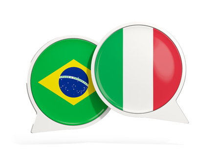 Flags of Brazil and italy inside chat bubbles isolated on white. 3D illustration