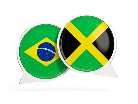 Flags of Brazil and jamaica inside chat bubbles isolated on white. 3D illustration