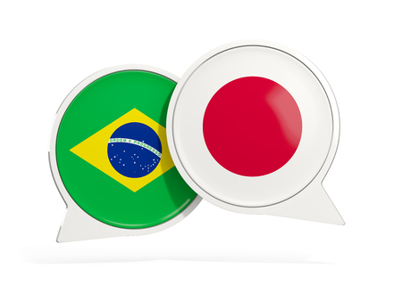 Flags of Brazil and japan inside chat bubbles isolated on white. 3D illustration