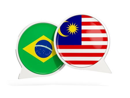 Flags of Brazil and malaysia inside chat bubbles isolated on white. 3D illustration Imagens