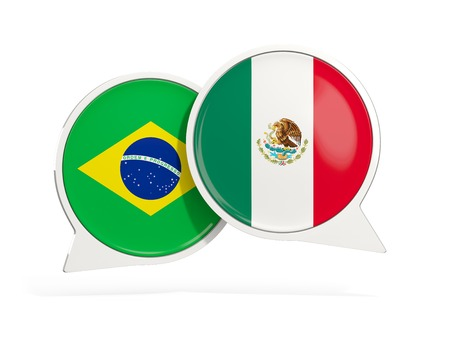 Flags of Brazil and mexico inside chat bubbles isolated on white. 3D illustration