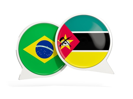 Flags of Brazil and mozambique inside chat bubbles isolated on white. 3D illustration Imagens